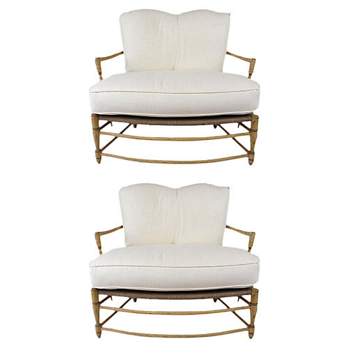 French Provincial-style Pair of Settees