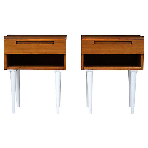 Danish Mid-Century Nightstands, a Pair
