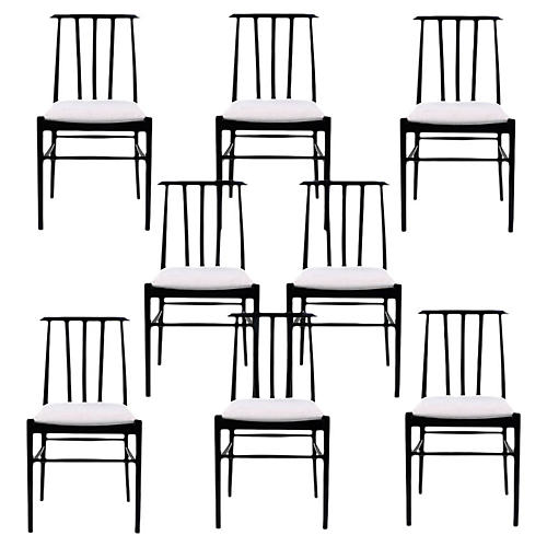 Set of 8 Danish Ebonized Dining Chairs