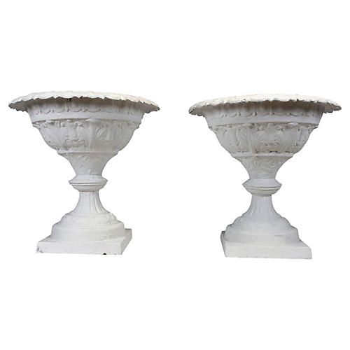 Cast Iron Planters, Pair