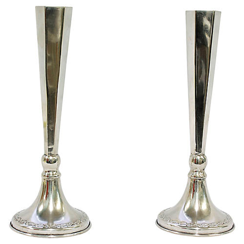 Art Deco Sterling Candleholders, Pair