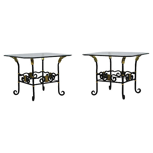 Regency-Style Forged Iron Side Tables