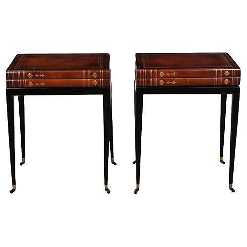 Book-Motif Side Tables, Pair