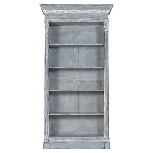 Open Bookshelf With Distressed Finish