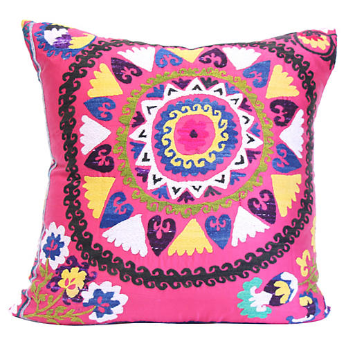 Hand-Embroidered Pink Suzani Pillow