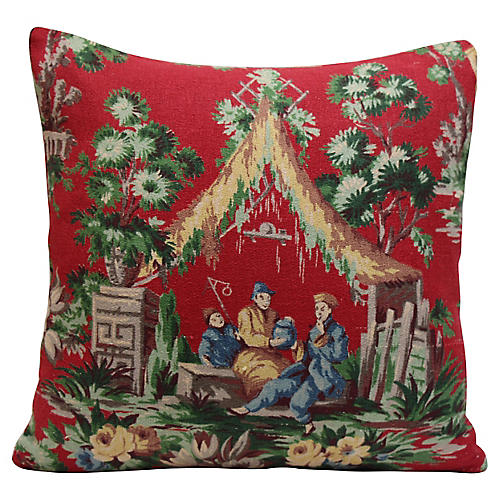 Red Chinoiserie Pillow