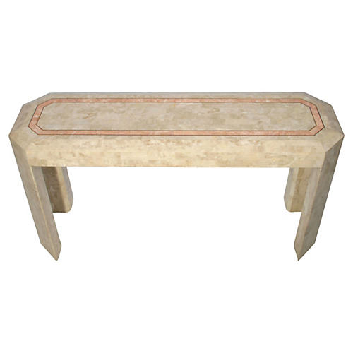 Tessellated Stone Console Table w/ Brass
