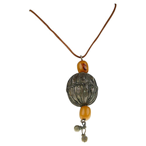 Nigerian Ball & Beads Necklace Leather