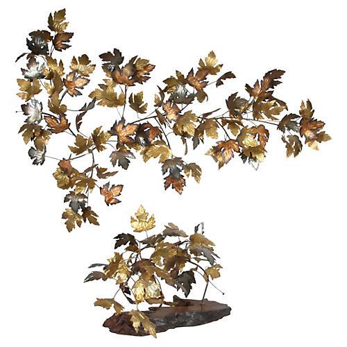 Ken Rains Metal Leaves Sculpture, 2-Pcs