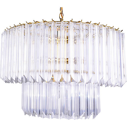 Ellipse 2-tier Lucite & Brass Chandelier