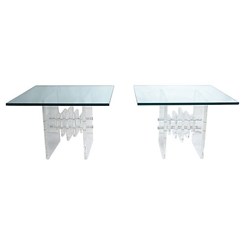 Stacked Lucite & Glass Side Tables, S/2