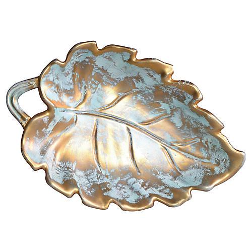 Signed Stangl Gold-Leaf Ceramic Catchall