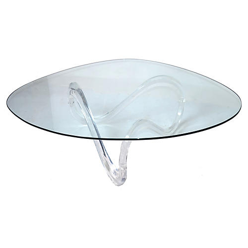 Lucite Ribbon Coffee Table w/ Glass Top