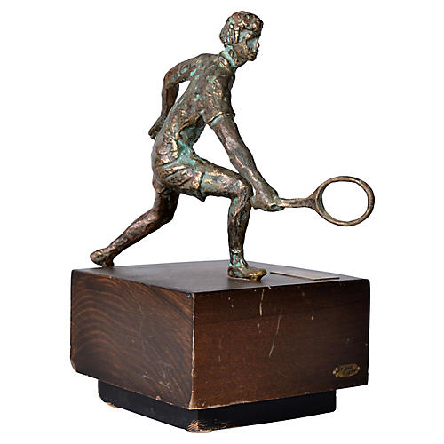 Jere Bronze Tennis Player Sculpture,1994