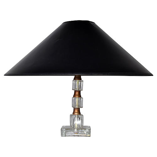 Crystal & Brass Table Lamp