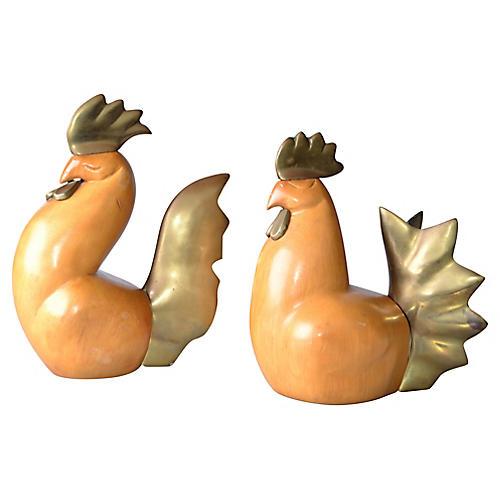 Bronze & Wood Rooster w/ Hen, 2-Pcs