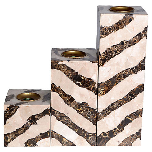 Marble Candleholders, S/3