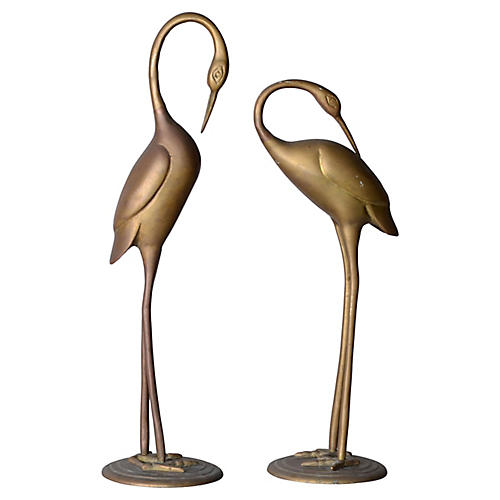 Brass Bird Sculptures, Pair