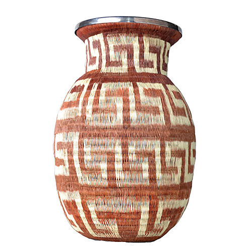 Native American-Style Hand-Woven Vase