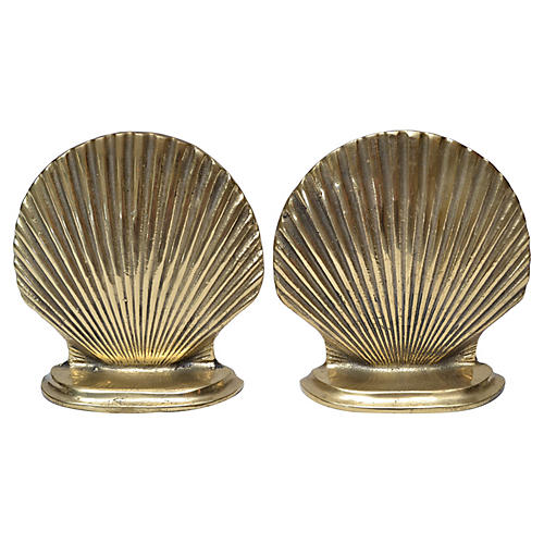 Pair Brass scallop shell Bookends