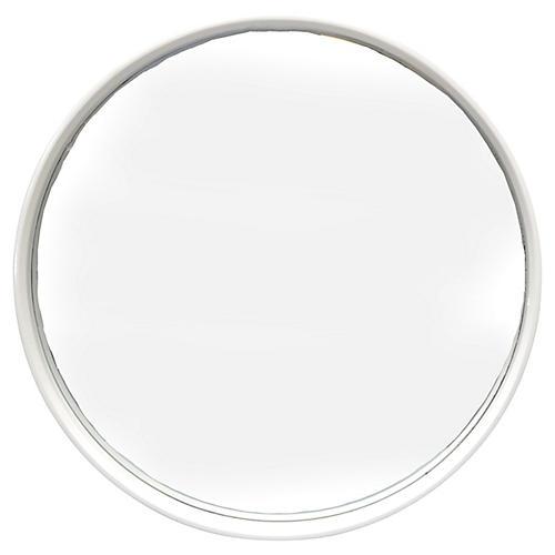 Round White Bentwood Mirror