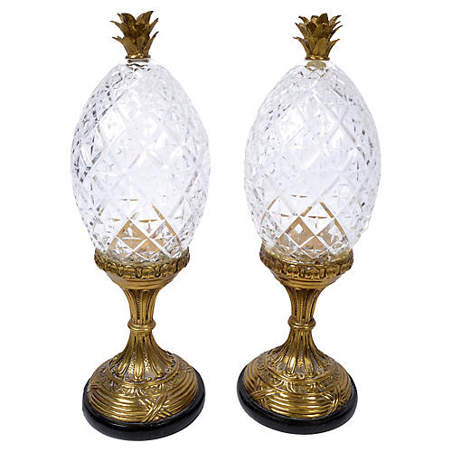 Bronze & Crystal Pineapples, Pair
