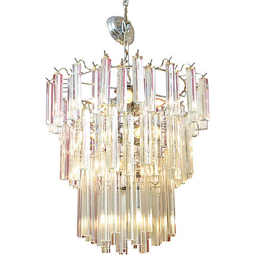 Round Tiered Crystal Chrome Chandelier