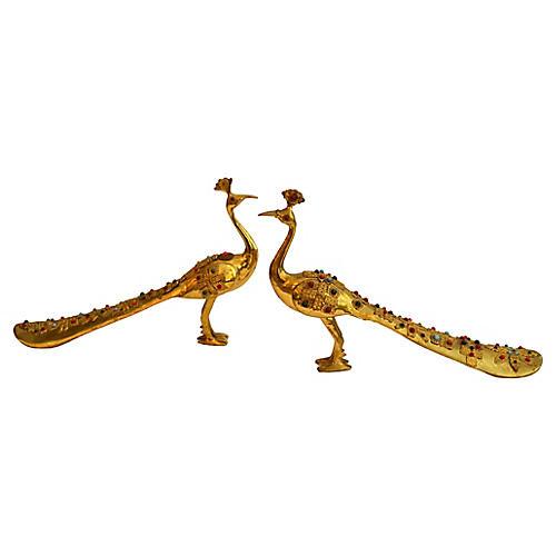 Beaded Brass Peacock Shoe Horns, Pair