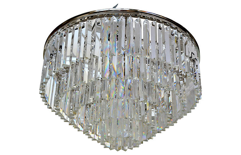 Five Tier Chrome & Crystal Chandelier