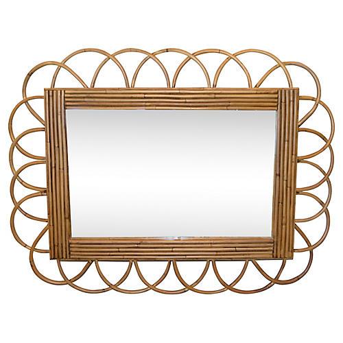 Midcentury Rattan & Bamboo Wall Mirror