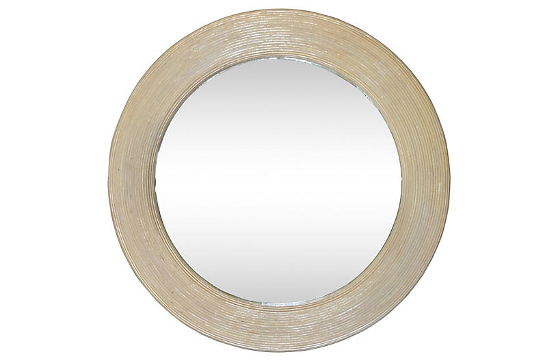 Round Bleached Pencil Reed Wall Mirror