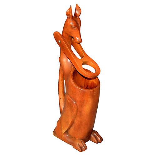 Folk Art Wooden Kangaroo Bottle Holder