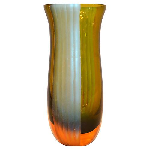 Blue & Amber Blown Art Glass Vase Italy