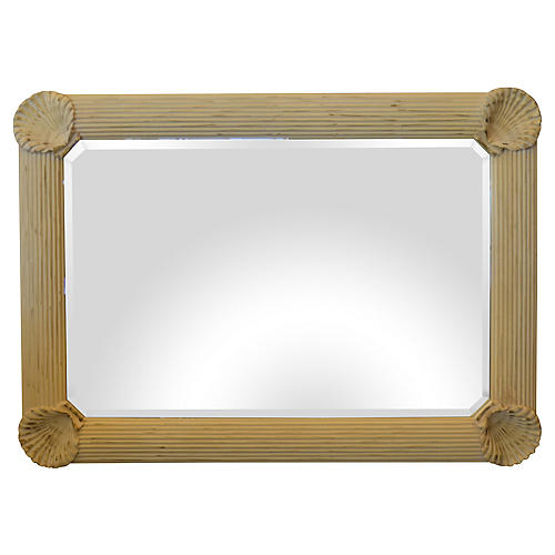 Nautical Wooden Seashell Beveled Mirror
