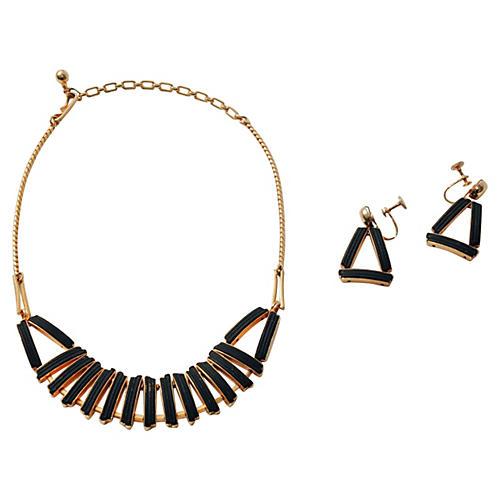 Geometric Bib Necklace & Earrings Set