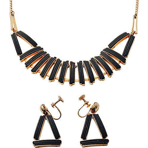 Geometric Bib Necklace & Earrings Set