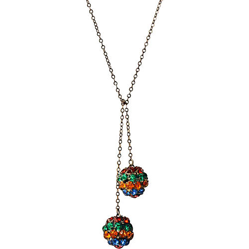 Rhinestone Ball Lariat Necklace