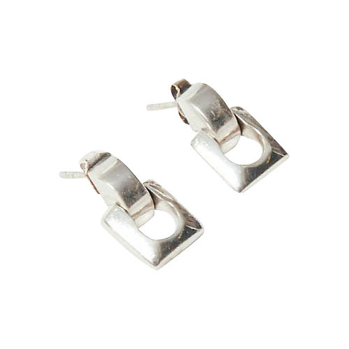 Sterling Silver Abstract Link Earrings