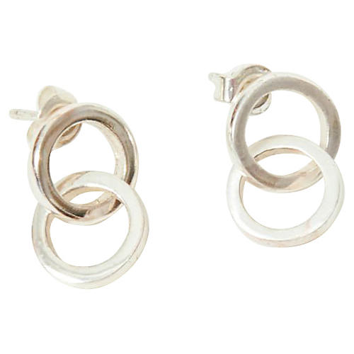 Sterling Silver Double-Circle Earrings