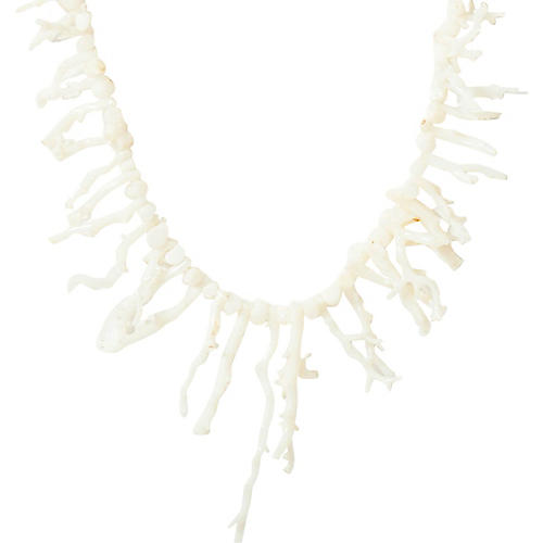 White Angel-Skin Coral Branch Necklace