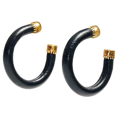 Black & 14K Gold Hoop Earrings