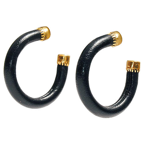 Black & 14K Gold Hoop Earrings
