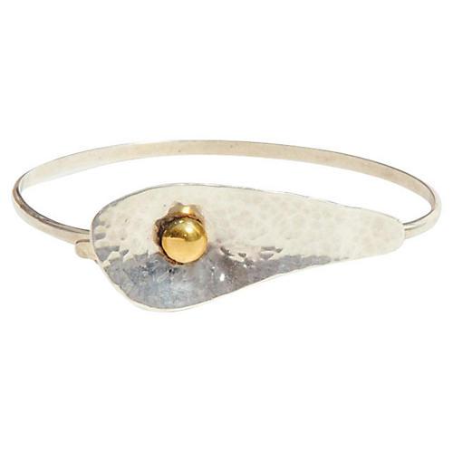 Modernist Hammered Sterling Bracelet