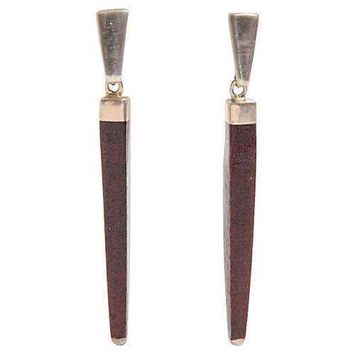 Sterling Silver & Wood Earrings