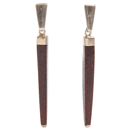 Sterling Silver & Wood Earrings