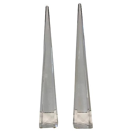 1970s Lucite Obelisks, S/2