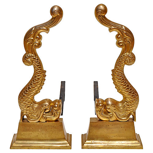 Brass Baroque Dolphin Andirons