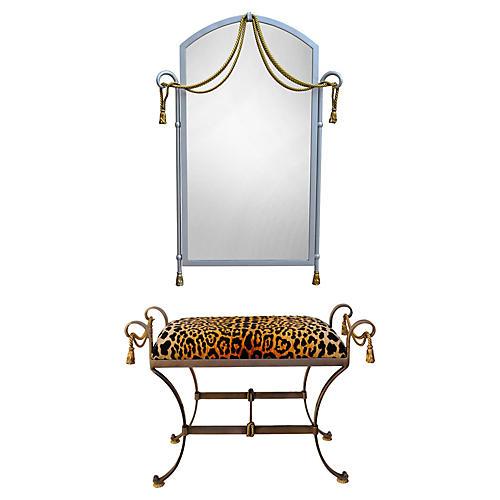 La Barge Leopard Tassel Mirror & Bench