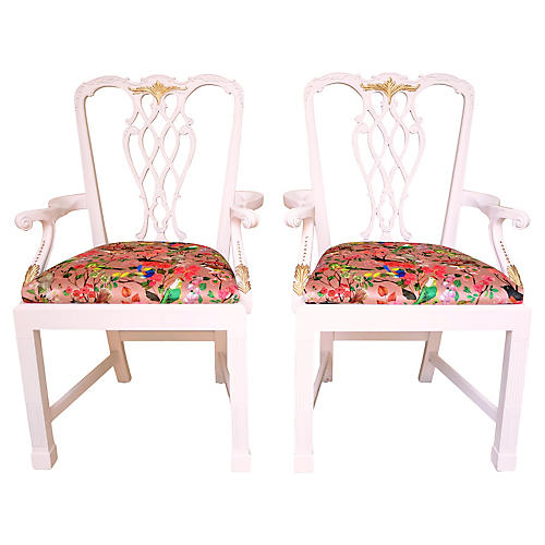 Floral Chinoiserie Chippendale Chairs