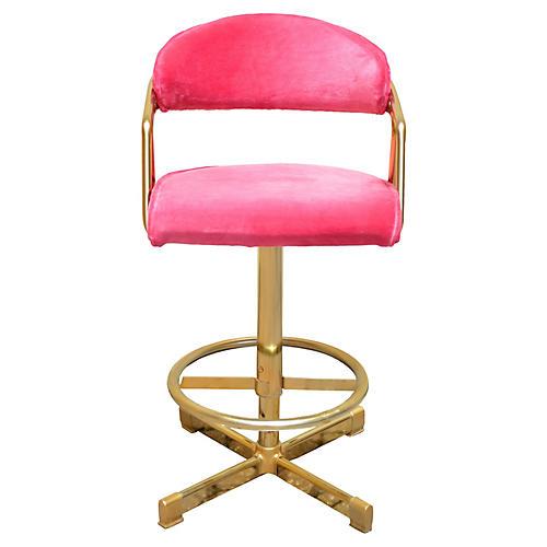 Brass & Pink Velvet Barstool